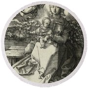 The Madonna Crowned By An Angel, 1520  Round Beach Towel