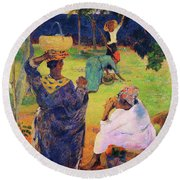 The Mango Trees, Martinique - Digital Remastered Edition Round Beach Towel
