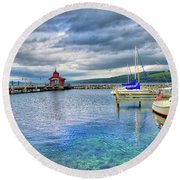 Round Beach Towel featuring the photograph The Marina At Seneca Lake - Finger Lakes, New York by Lynn Bauer