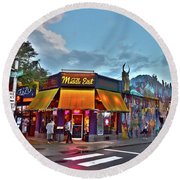 The Middle East In Cambridge Central Square Dusk Round Beach Towel