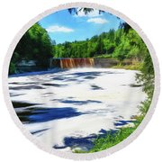 Round Beach Towel featuring the photograph The Mighty Tahquamenon by Mike Braun
