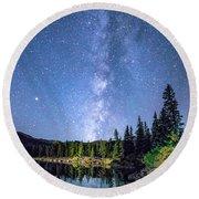 The Milky Way Over Echo Lake Round Beach Towel