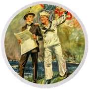 The Navy Needs You Round Beach Towel
