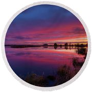 The New Day Begins Round Beach Towel