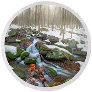 Round Beach Towel featuring the photograph The November Forest by Bill Wakeley