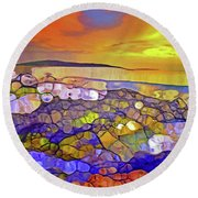 The Ocean Moves Inside Of Us Round Beach Towel