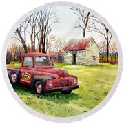 The Old Harvester Round Beach Towel