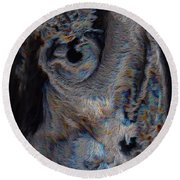 The Old Owl That Watches Round Beach Towel