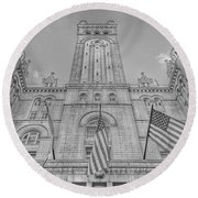 Round Beach Towel featuring the photograph The Old Post Office Now Trump International Hotel In Washington D.c. - Black And White by Marianna Mills