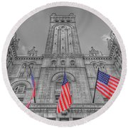 Round Beach Towel featuring the photograph The Old Post Office Now Trump International Hotel In Washington D.c. by Marianna Mills