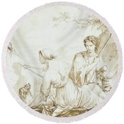 The Origin Of Painting, Or Dibutade Tracing The Profile Of The Shepherd  Round Beach Towel