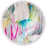 Round Beach Towel featuring the painting The Other Half Of My Heart by Tracy Bonin