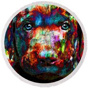 The Painted Puppy Huge 48x48 Canvas Or Paper Round Beach Towel