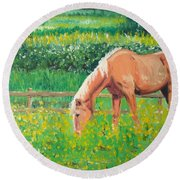 The Palomino And Buttercup Meadow Round Beach Towel