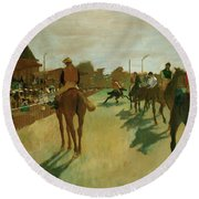 The Parade, Race Horses In Front Of The Tribunes, 1868 Round Beach Towel