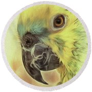 Round Beach Towel featuring the photograph The Parrot Sketch by Leigh Kemp