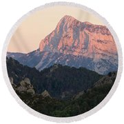 Round Beach Towel featuring the photograph The Pena Montanesa by Stephen Taylor