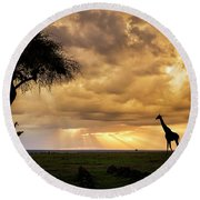 The Plains Of Africa Round Beach Towel