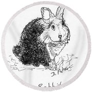 The Rabbit Lady Drawing Round Beach Towel