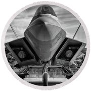 The Raptor Waits Round Beach Towel