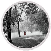 The Red Dress Round Beach Towel