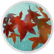 The Red Leaves Round Beach Towel
