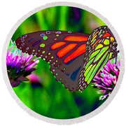 The Red Monarch Butterfly Round Beach Towel