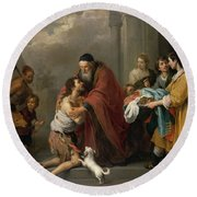 The Return Of The Prodigal Son, 1670 Round Beach Towel