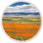 The Road Through The Poppies 2 Round Beach Towel