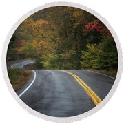 The Road To Friends Lake Round Beach Towel