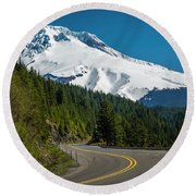 The Road To Mt. Hood Round Beach Towel