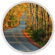 Round Beach Towel featuring the photograph The Road Up Mount Greylock by Raymond Salani III