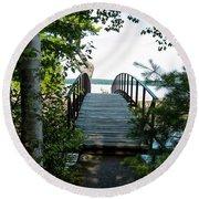 The Rock River Foot Bridge Round Beach Towel