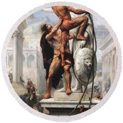 The Sack Of Rome By Visigoths In 410 Round Beach Towel