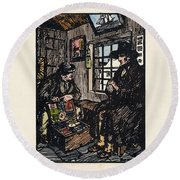 Round Beach Towel featuring the painting The Sales Man by Val Byrne