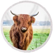 Round Beach Towel featuring the photograph The Scottish Highlander by Anjo Ten Kate