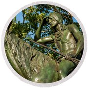 The Scout Statue II Round Beach Towel