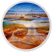 The Silent Morning Tide Round Beach Towel