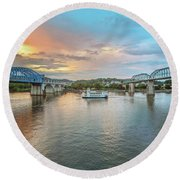 The Southern Belle Between The Bridges  Round Beach Towel