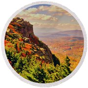 The Summit In Fall Round Beach Towel