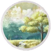 The Sunny Shenandoah Valley Round Beach Towel