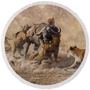 Round Beach Towel featuring the painting The Take Down - Lions Attacking Cape Buffalo by Alan M Hunt
