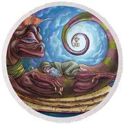 The Third Dream Of A Celestial Dragon Round Beach Towel