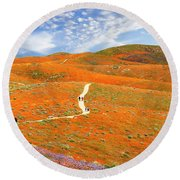 The Trail Through The Poppies Round Beach Towel