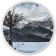 Dry Try On Frozen Mountainous Landscape In The Argentine Patagonia Round Beach Towel