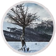 The Tree And The Beautiful Snowy Paradise Round Beach Towel