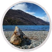The Trunk, The Lake And The Mountainous Landscape Round Beach Towel