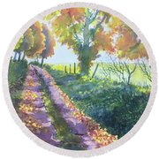 The Tunnel In Autumn Round Beach Towel