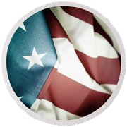 The Usa Flag Round Beach Towel