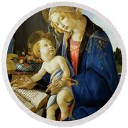 The Virgin And Child, The Madonna Of The Book Round Beach Towel